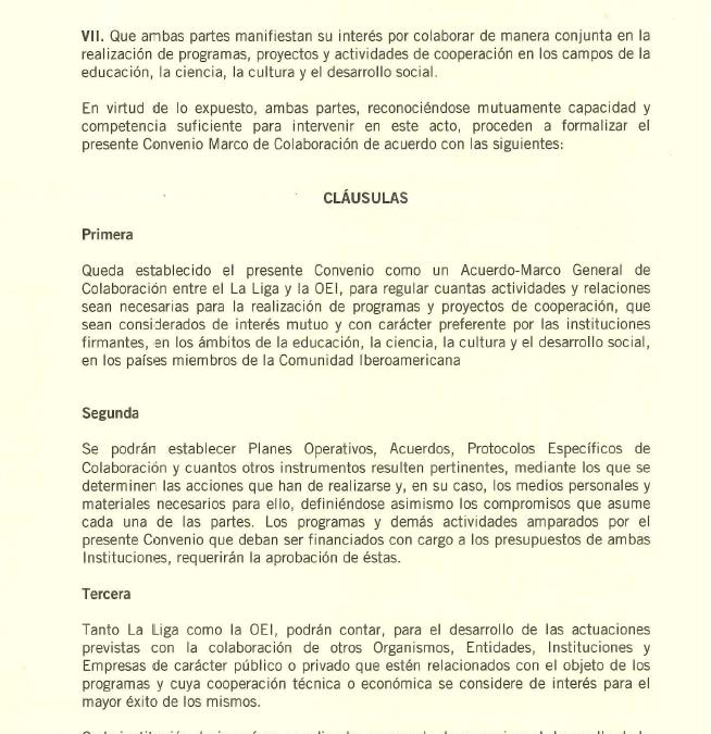 Convenio marco entre la OEI (Organización de Estados Iberoamericanos ) y La Liga Iberoamericana