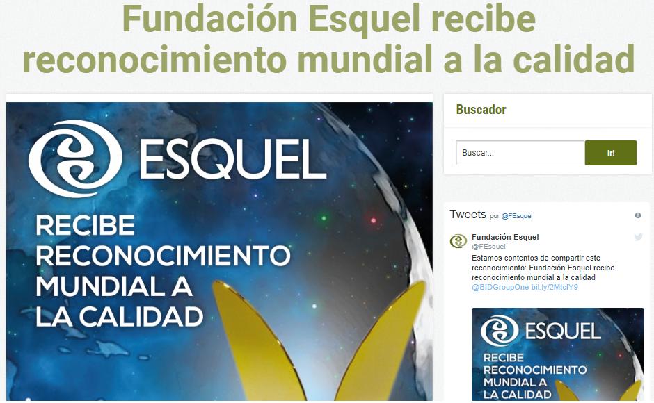 Fundación Esquel reconocida con el oro 2019 en el Premio World Quality Commitment